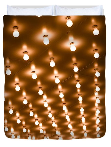 Photo of Theater Marquee Lights Duvet Cover by Paul Velgos