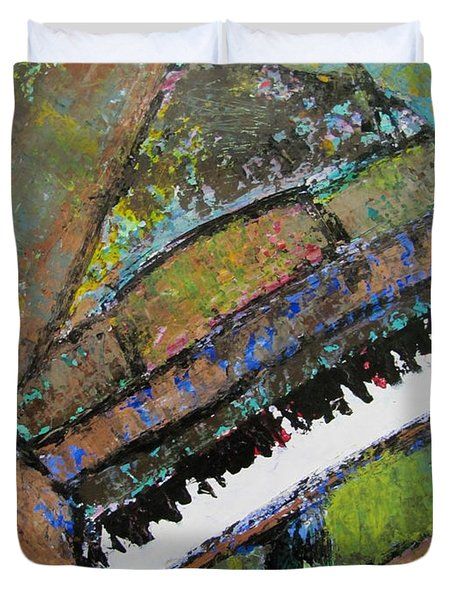 Piano Aqua Wall - Cropped Duvet Cover by Anita Burgermeister