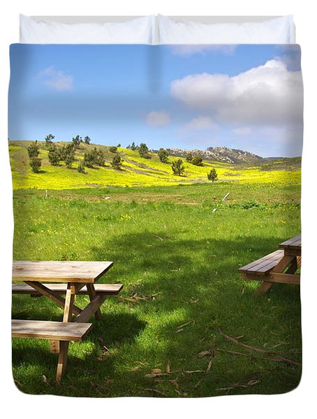 Picnic Tables Duvet Cover by Carlos Caetano