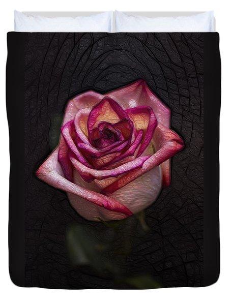 Picturesque Satin Rose Duvet Cover by Linda Tiepelman