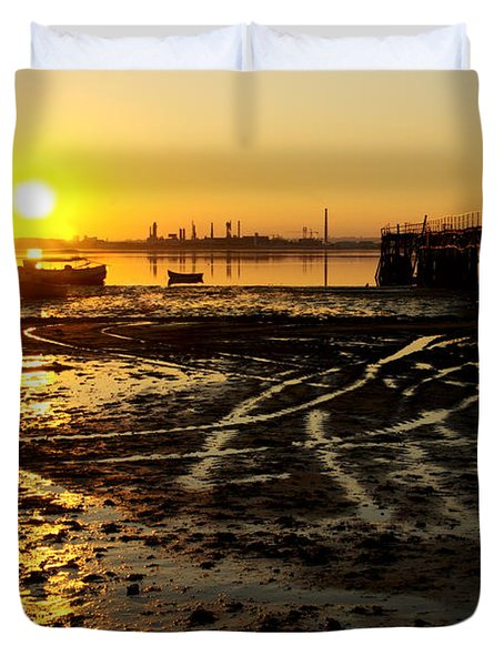 Pier At Sunset Duvet Cover by Carlos Caetano