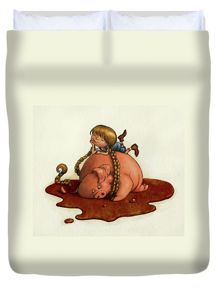Pig Tales Duvet Cover by Andy Catling