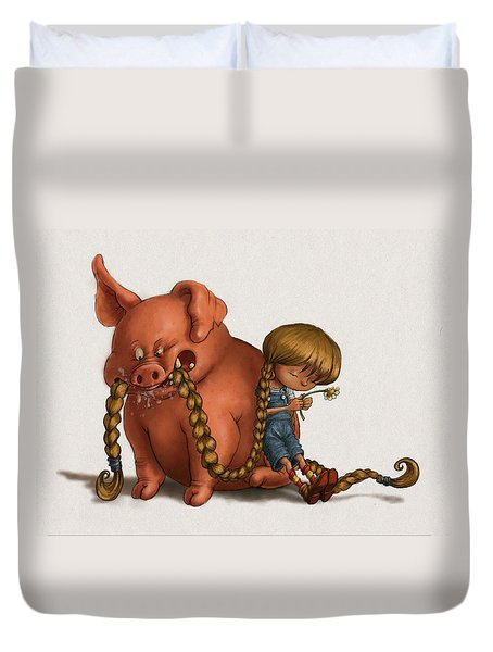Pig Tales Chomp Duvet Cover by Andy Catling
