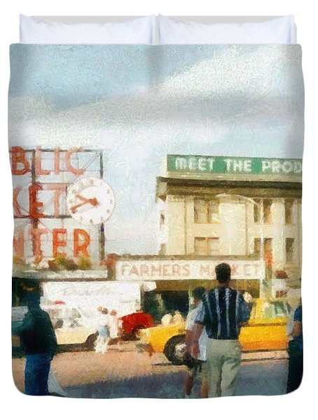 Pike Place Market Duvet Cover by Michelle Calkins