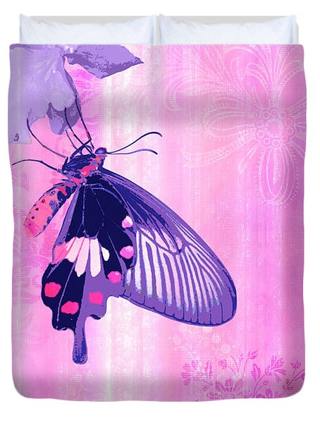 Pink and Purple Companions 1 Duvet Cover by JQ Licensing