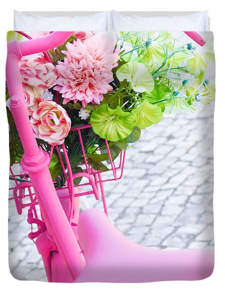pink bicycle Duvet Cover by Carlos Caetano