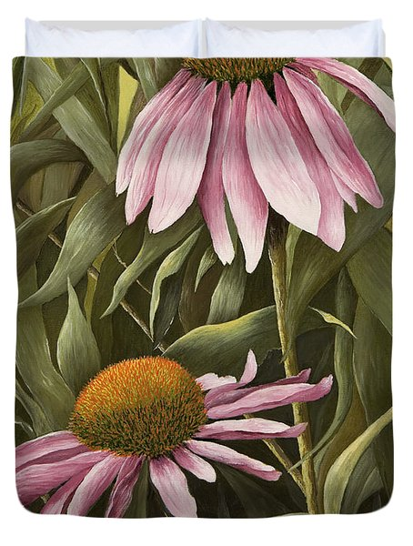 Pink Echinaceas Duvet Cover by Mary Ann King