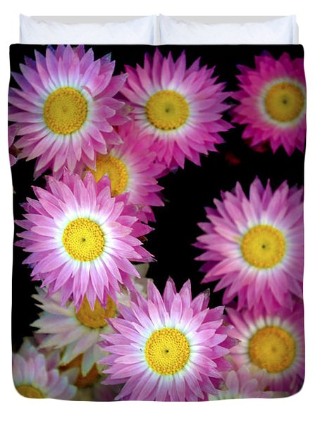 Pink Flowers At Dawn 3 Duvet Cover by Sumit Mehndiratta