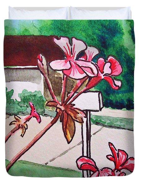 Pink Geranium Sketchbook Project Down My Street Duvet Cover by Irina Sztukowski