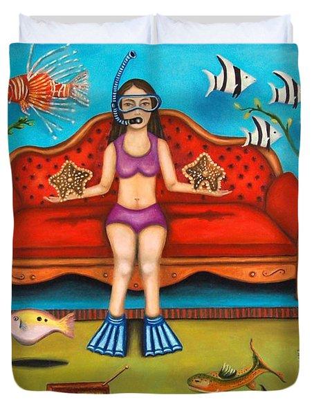 Pisces 3 Duvet Cover by Leah Saulnier The Painting Maniac