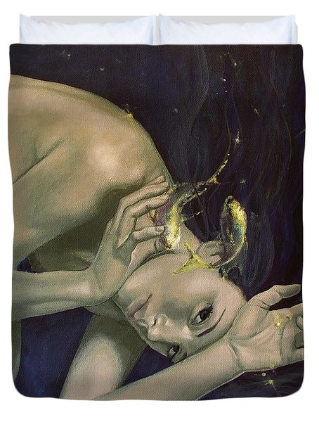 Pisces from Zodiac series Duvet Cover by Dorina  Costras