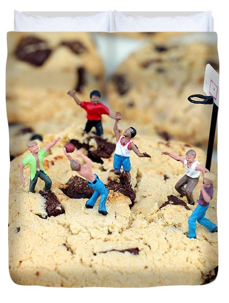 Playing Basketball On Cookies II Duvet Cover by Paul Ge