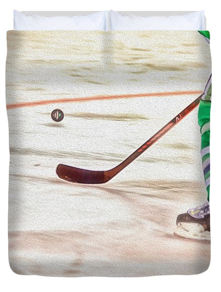 Playing The Puck Duvet Cover by Karol Livote
