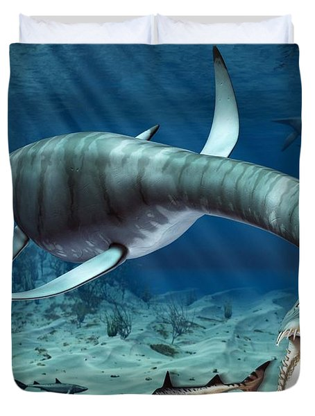 Plesiosaur Attack Duvet Cover by Roger Harris and Photo Researchers