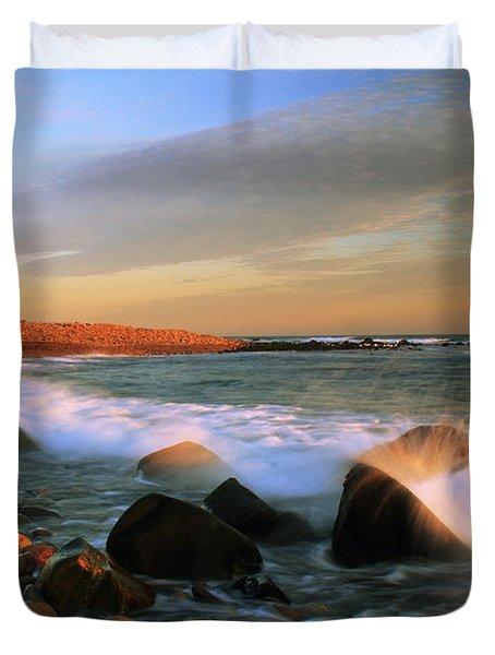 Point Judith Lighthouse Seascape Duvet Cover by Roupen  Baker