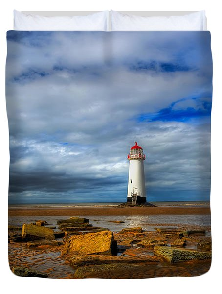 Point Of Ayr Beach Duvet Cover by Adrian Evans