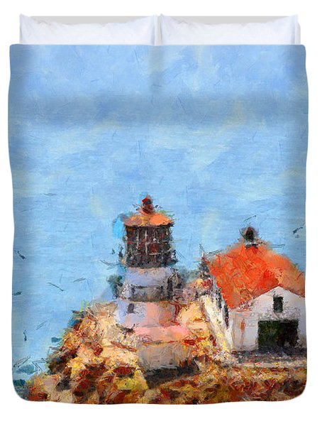 Point Reyes Lighthouse In California . 7d15989 Duvet Cover by Wingsdomain Art and Photography