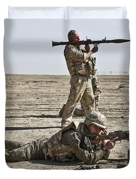 Polish Soldiers Prepare To Fire Duvet Cover by Stocktrek Images