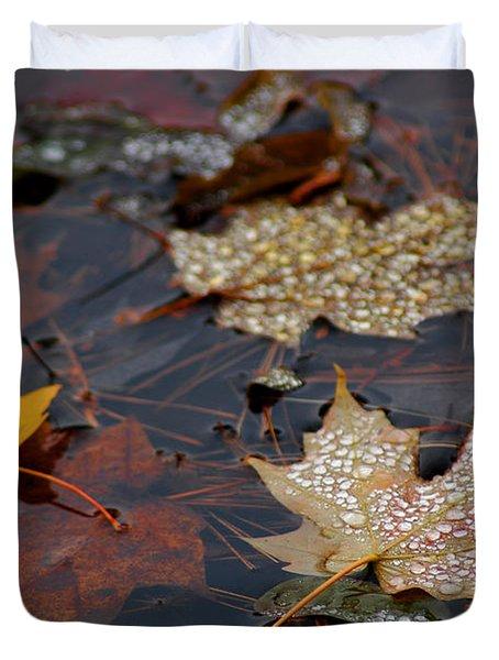 Pond Leaf Dew Drops Duvet Cover by LeeAnn McLaneGoetz McLaneGoetzStudioLLCcom