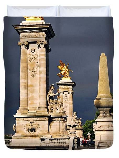 Pont Alexander III in Paris before storm Duvet Cover by Elena Elisseeva