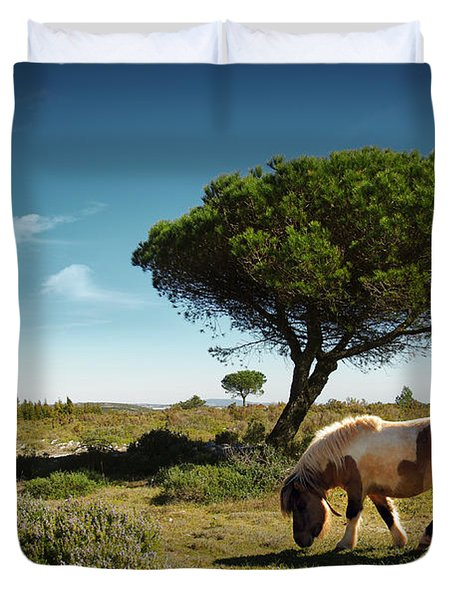 Pony Pasturing Duvet Cover by Carlos Caetano