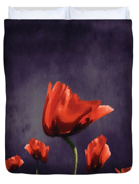 Poppies Fun 02b Duvet Cover by Variance Collections