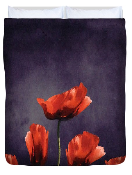 Poppies Fun 03b Duvet Cover by Variance Collections