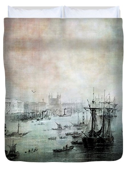 Port Of London - Circa 1840 Duvet Cover by Lianne Schneider