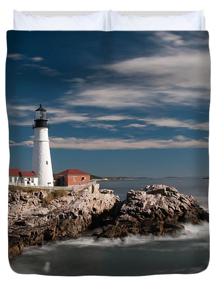 Portland Head Light 19482c Duvet Cover by Guy Whiteley