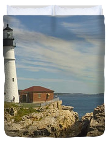 Portland Head Light Panorama  Duvet Cover by Mike McGlothlen