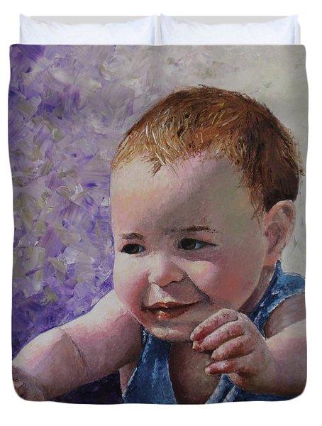Portrait Of A Boy - Catch Me Duvet Cover by Tatjana Popovska