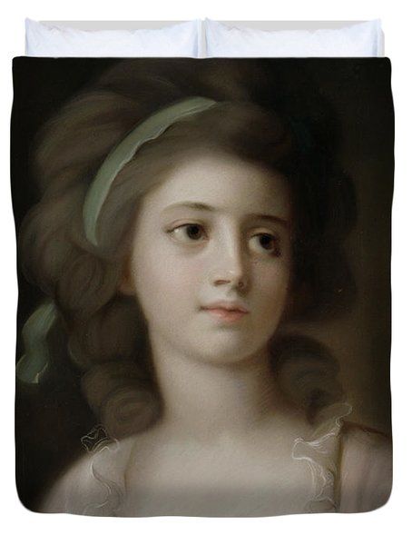 Portrait Of A Young Lady Duvet Cover by French School