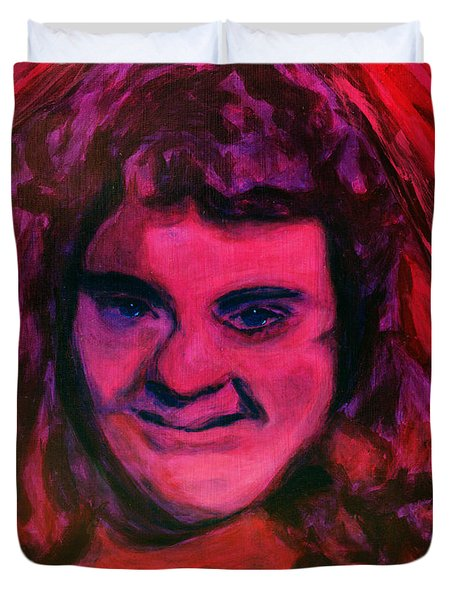 Portrait Of Jenny Friedman Who Never Gave Up. Figure Portrait In Pink Purple And Blue Downs Syndrome Duvet Cover by MendyZ M Zimmerman
