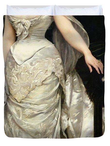 Portrait Of Mademoiselle X Duvet Cover by Charles Emile Auguste Carolus Duran