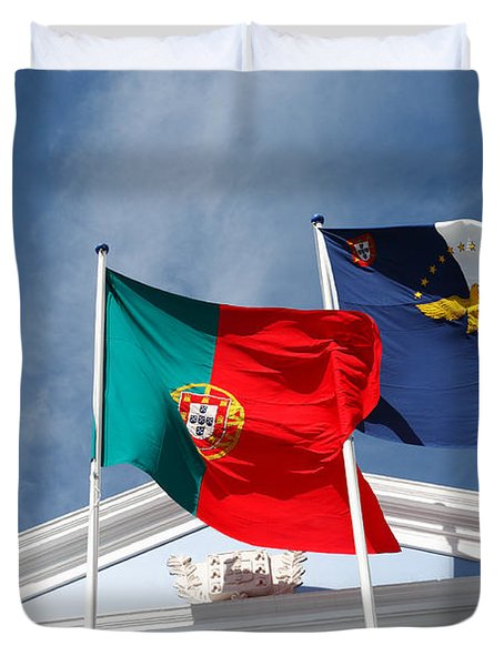 Portugal And Azores Flags Duvet Cover by Gaspar Avila
