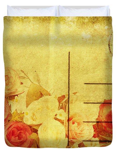 Postcard With Floral Pattern Duvet Cover by Setsiri Silapasuwanchai