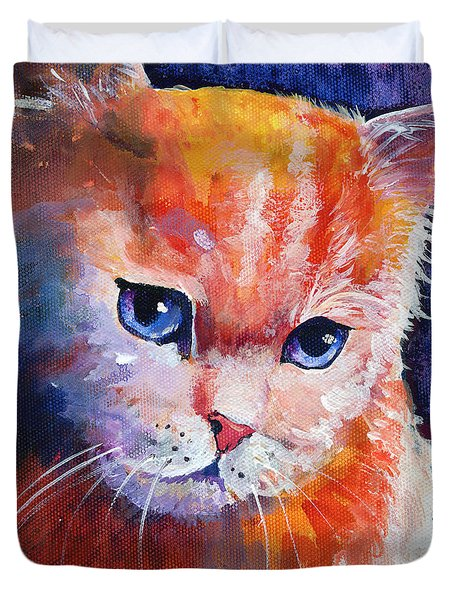 Pouting Kitty Duvet Cover by Sherry Shipley