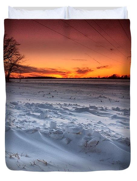 Powerlines In Winter Duvet Cover by Cale Best