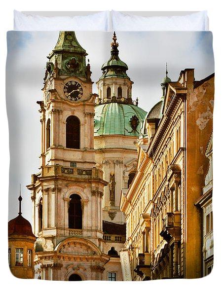 Prague - St. Nicholas Church Lesser Town Duvet Cover by Christine Till