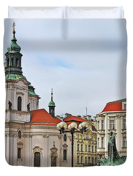 Prague - St Nicholas Church Old Town Square Duvet Cover by Christine Till