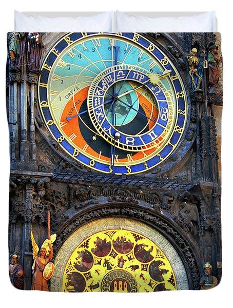 Prague Astronomical Clock 2 Duvet Cover by Mariola Bitner