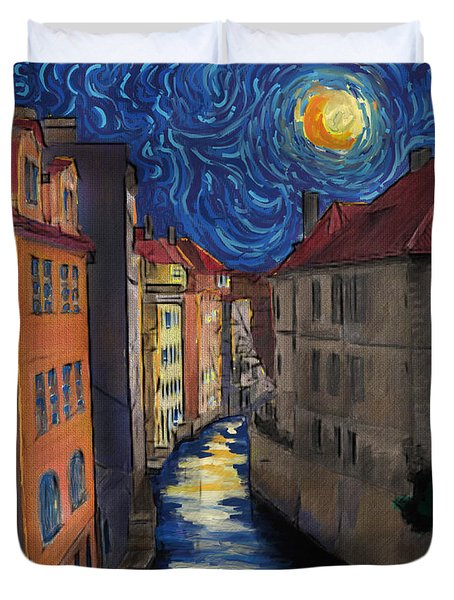 Prague By Moonlight Duvet Cover by Jo-Anne Gazo-McKim