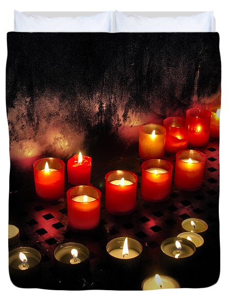 prague church candles Duvet Cover by Stylianos Kleanthous