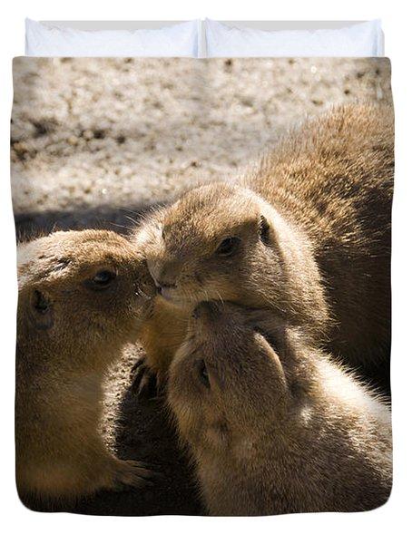 Prairie Dog Gossip Session Duvet Cover by Trish Tritz