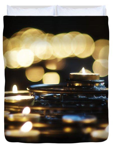 Prayer Candles Duvet Cover by Beth Riser