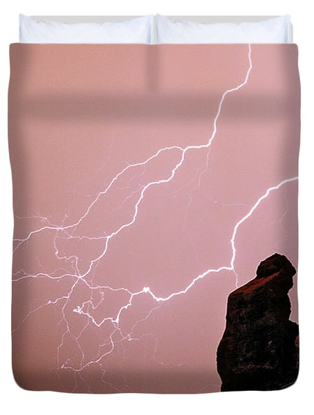 Praying Monk Camelback Mountain Lightning Monsoon Storm Image Duvet Cover by James BO  Insogna