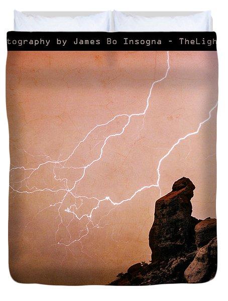 Praying Monk Camelback Mountain Lightning Monsoon Storm Image Tx Duvet Cover by James BO  Insogna