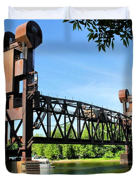 Prescott Lift Bridge Duvet Cover by Kristin Elmquist