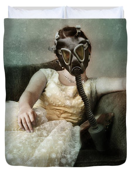 Princess In Gas Mask 2 Duvet Cover by Jill Battaglia