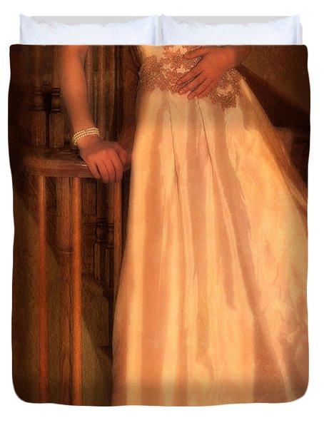 Princess On Stairway Duvet Cover by Jill Battaglia